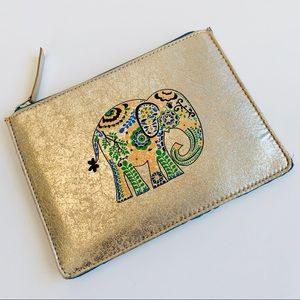 Distressed Gold Colorful Elephant Pouch